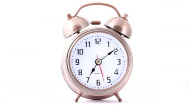 Front view of classical metal alarm clock — Stock Video