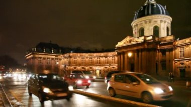 Institut de France and road — Stock Video