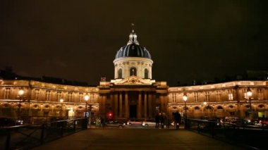 Institut de France, night view — Stock Video