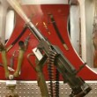Military machinegun, stereo riflescope behind glass in museum — Stock Video #27999687