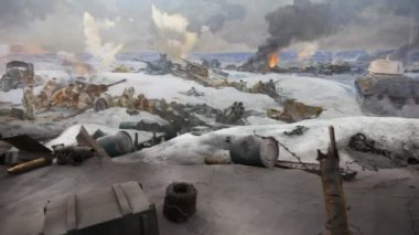 Artistic panorama Defeat of the Fascists Armies at Stalingrad — Stock Video