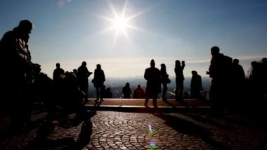 People on observation platform at Sacré-Coeur in Paris — Stock Video