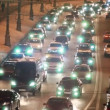 Cars in hard traffic jam on street of Moscow at night — Stockvideo