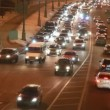 Cars on night crossroad near Kremlin, Moscow, Russia — Stock Video