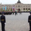 Stock Video: Columns military under flag of Azerbaijan and Armenia march on Red Square