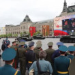Stock Video: Major russitanks of WWII T-34 ride on rehearsal of parade