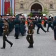 Stock Video: Column officers march on rehearsal of parade on Red Square