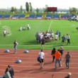 Participants of Big races walk at stadium Yantar in Strogino — Stock Video