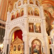 Stock Video: Iconostasis and interior of main dome in Christ Savior Cathedral