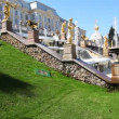Stock Video: Cascade fountains at Royal Petrodvorets, Saint Petersburg