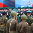 Stock Video: Frontier guards march on rehearsal of parade on Red Square