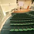 Top view panning of empty conference hall with seats — Vidéo