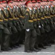 Stock Video: Column cadets march on rehearsal of parade on Red Square