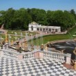 Stock Video: Fountains and pavilion left from Royal Petrodvorets