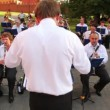 Stock Video: Conductor controls brass band in Alexander's Garden