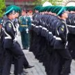 Stock Video: Frontier guards march front military brass band on rehearsal of parade