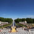 Stock Video: Fountains, wide-angle panoramfrom Royal Petrodvorets, Saint Petersburg
