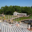 Stock Video: Fountains, panoramleft to right from Royal Petrodvorets