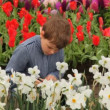 Stock Video: Little boy sits on footpath near flowerbeds