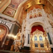 Stock Video: Iconostasis illustration of biblical characters in Christ Savior Cathedral
