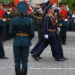 Stock Video: Soldiers march on rehearsal of parade on Red Square