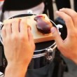 Man of brass band plays castanets — Stock Video