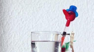 Bird tilting drinking water from glass — Stock Video