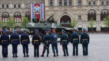 Soviet light armored vehicles BTR-40 go on rehearsal of parade — Stock Video