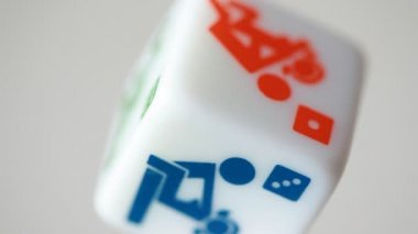 White rolling dice with camasutra positions and dots — Stock Video