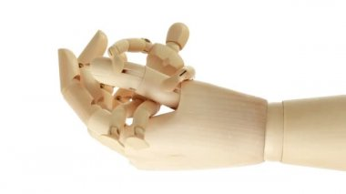 Closer view of rotation of toy giant arm with its wrist — Stock Video