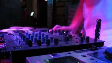 Close-up view on DJ panel during party in nightclub — Stock Video