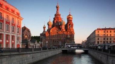 Church of Savior on Spilled Blood at channel St. Petersburg — Stock Video
