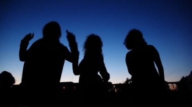 Silhouettes of young girls dancing on board ship sailing — Stock Video