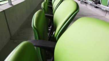 Green seats of the stadium — Stock Video
