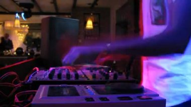 DJ panel during wedding party in nightclub — Stock Video