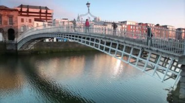 The Ha'penny Bridge , known later for a time as the Penny Ha'penny Bridge — Stock Video