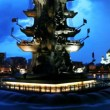 Illuminated monument to Peter Great and fountains in Moscow River — Stock Video
