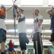 Young men participate in IV Traditional archery tournament in RSUPES&T — Vídeo Stock