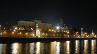 Embankment near Moscow Kremlin at night — Stock Video