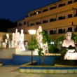 Night view of the fountain and statue of Buddha — Stock Video #28793129