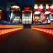 Colorful path with red bulbs to slot machine, child slots — Stock Video
