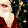 Santa Claus with presents and New Year tree at home — Stock Video