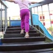 Little girl climbing on stairs at playground — Stock Video #28806507