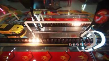 Slot machine close-up with flashing bulbs and car — Stock Video