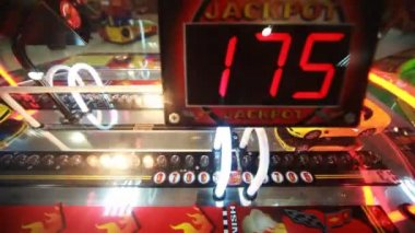 Slot machine close-up with flashing bulbs — Stock Video