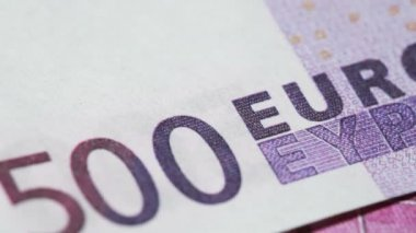 Denomination for banknote five hundred euros, rotate — Stock Video