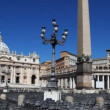 Area with pillar and lantern in front of St. Peters Basilica at Vatican — Stock Video