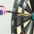 Dart hit directly into bulls eye — Stock Video