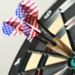 Ideal hits in red point by darts with american flag — Stock Video