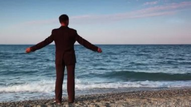 Man in suit standing on beach pebbles — Stock Video